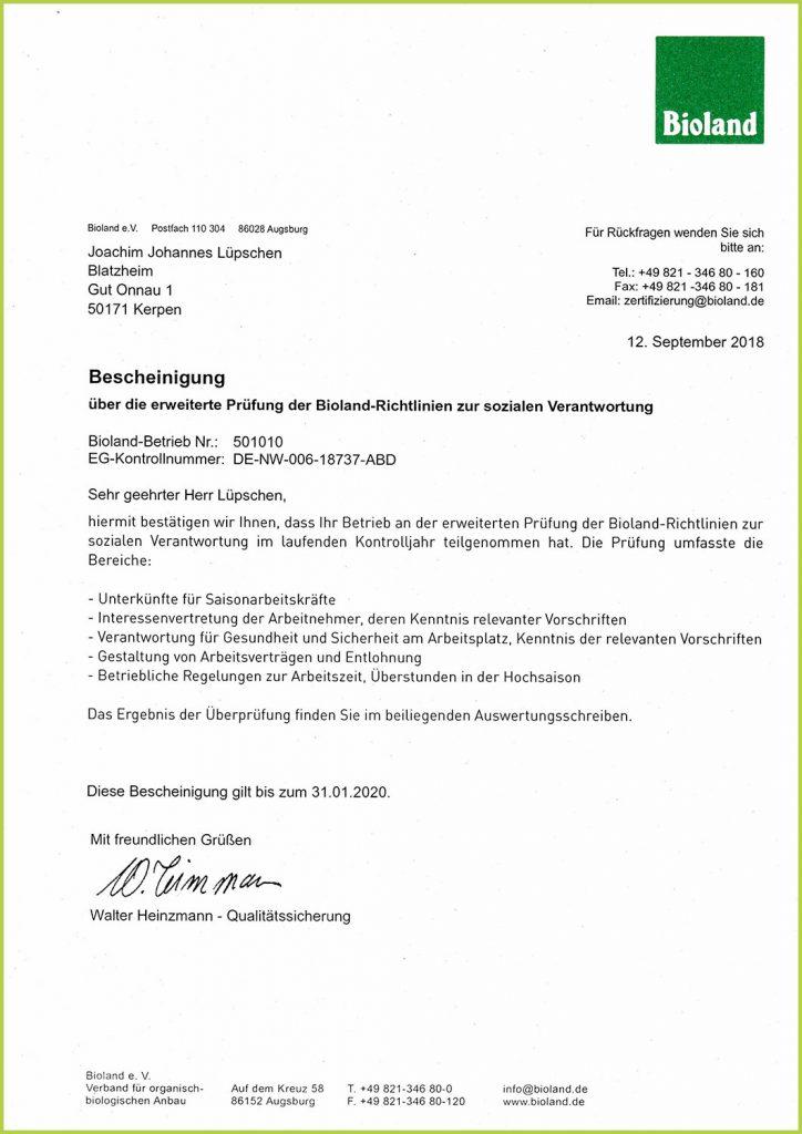 Bioland-Zertifikat Gut Onnau