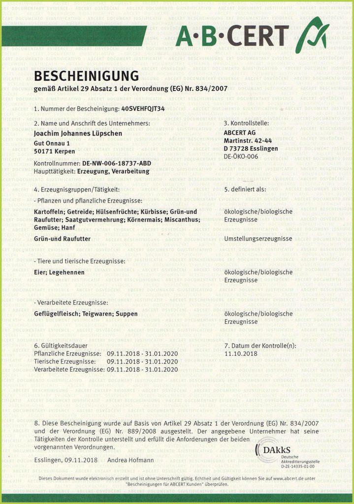 a.b.cert-Zertifikat Gut Onnau